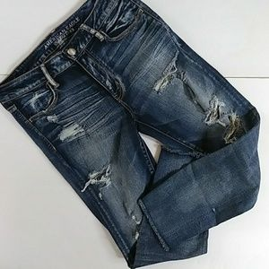American Eagle Cropped Distressed Jeggings